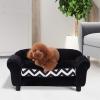 PawHut® Hundesofa Hundebett Hunde Couch Haustier Waschbar Erhöhte Füße Samt Schwarz(m-2)