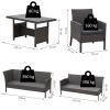 Outsunny® Rattan Gartenmöbel 5-tlg. Sitzgarnitur Outdoor-Sitzgruppe Loungeset Metall Grau(m-2)