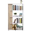 HOMCOM® Bücherregal Standregal 4-Stufiges Büroregal Küchenregal Spanplatte Eiche+Weiß(m-1)
