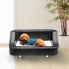 PawHut® Hundesofa Luxus Hundebett Kunstleder schwarz-weiss(m-2)