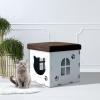 PawHut® Katzenhöhle Katzenschrank Katzenhaus Versteck Sitzhocker Sitzwürfel Weiß(m-4)
