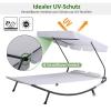 Outsunny® Doppelliege Sonnenliege rollbar mit Dach Stahl Cremeweiß(m-4)