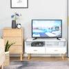 HOMCOM® TV Schrank TV-Kommode mit 2 Schubladen und Offene Regale Bambus MDF Weiß+Natur(m-4)
