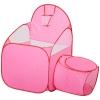 HOMCOM® Kinderspielhaus Spielzelt mit Ballkorb Ballteich Tunnel Pop up Polyester Rosa 123 x 73,5 x 112 cm(m-6)