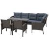Outsunny® Rattan Gartenmöbel 5-tlg. Sitzgarnitur Outdoor-Sitzgruppe Loungeset Metall Grau(m-3)