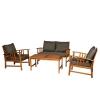 Outsunny® 4er-Set Gartenmöbel Holz Sitzgruppe Garnitur Lounge mit Kissen Tisch Sessel Braun 3–4 Personen(m-7)