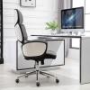 Vinsetto® Bürostuhl Drehstuhl Leinen Dunkelgrau Weiß(m-6)