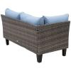 Outsunny® Rattan Sitzgarnitur 4-tlg. Sitzgruppe Gartenmöbelset mit Couchtisch Metall Blau(m-7)