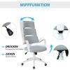 Vinsetto® Bürostuhl Drehstuhl Kippfunktion Leinen Grau Weiß(m-6)