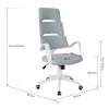 Vinsetto® Bürostuhl Drehstuhl Kippfunktion Leinen Grau Weiß(m-3)