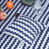 HOMCOM® Kinder Tipi Zelt Spieltipi Polyester Tannenholz 3-8 jahren Blau+Weiß(m-9)