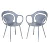HOMCOM® 2-teiliges Esszimmerstuhl Set Stuhl Küchenstuhl Stahl Kunststoff Grau(m-3)