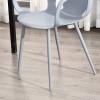 HOMCOM® 2-teiliges Esszimmerstuhl Set Stuhl Küchenstuhl Stahl Kunststoff Grau(m-8)
