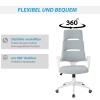 Vinsetto® Bürostuhl Drehstuhl Kippfunktion Leinen Grau Weiß(m-4)