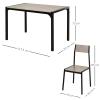 HOMCOM® Essgruppe mit 4 Stühlen Esszimmergarnitur Sitzgruppe Tischgruppe Grau(m-3)