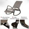 Outsunny® Schaukelstuhl Schwingsessel mit Fußstütze 3-fache Rückenlehne PE Rattan Grau(m-4)