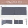 Outsunny® Doppel-Seitenmarkise Sichtschutz Seitenrollo Windschutz Polyester Grau L6xH1,8m(m-4)
