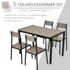 HOMCOM® Essgruppe mit 4 Stühlen Esszimmergarnitur Sitzgruppe Tischgruppe Grau(m-4)