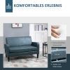HOMCOM® Sofa Polstersofa Loveseat  Modern Wohnzimmer Eingang Blau mit Muster(m-3)