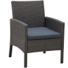 Outsunny® Rattan Gartenmöbel 5-tlg. Sitzgarnitur Outdoor-Sitzgruppe Loungeset Metall Grau(m-6)