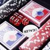 HOMCOM® Pokerkoffer Pokerset 300 Pokerchips 2 x Kartenspiel 5 x Würfel 1 x Alukoffer 5 Farben 38 x 20,5 x 6,5 cm 11,5 g/Chip(m-5)