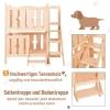 PawHut® Katzenbett 2 Ebenen Haustierbett Welpenbett Katzenhaus mit Treppe Tannenholz(m-4)