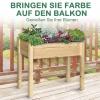 Outsunny® Hochbeet Pflanzkasten Kräuterbeet mit Abflusslöchern Vliesstoff Massivholz Natur(m-4)