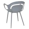HOMCOM® 2-teiliges Esszimmerstuhl Set Stuhl Küchenstuhl Stahl Kunststoff Grau(m-6)