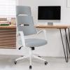 Vinsetto® Bürostuhl Drehstuhl Kippfunktion Leinen Grau Weiß(m-2)