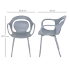 HOMCOM® 2-teiliges Esszimmerstuhl Set Stuhl Küchenstuhl Stahl Kunststoff Grau(m-2)