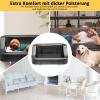 PawHut® Hundesofa Luxus Hundebett Kunstleder schwarz-weiss(m-5)