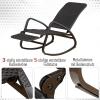 Outsunny® Schaukelstuhl Schwingsessel mit Fußstütze 3-fache Rückenlehne PE Rattan Schwarz(m-4)