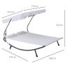 Outsunny® Doppelliege Sonnenliege rollbar mit Dach Stahl Cremeweiß(m-3)