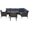 Outsunny® Rattan Gartenmöbel 5-tlg. Sitzgarnitur Outdoor-Sitzgruppe Loungeset Metall Grau(m-7)