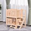 PawHut® Katzenbett 2 Ebenen Haustierbett Welpenbett Katzenhaus mit Treppe Tannenholz(m-2)