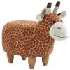 HOMCOM® Hocker für Kinder Kinderhocker Sitzhocker Polsterhocker im Tier-Design Giraffe(m-3)