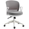 HOMCOM® Bürostuhl Drehstuhl Wippfunktion Netzdesign Grau Weiß(m-1)