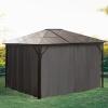 Outsunny Pawilon, pawilon ogrodowy, namiot imprezowy ze ścianami bocznymi, dach PC aluminium, brązowy, 3,45 x 2,8 cm(m-4)