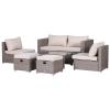 Zestaw mebli rattanowych, 6-częściowy komplet stolik z krzesłami, zestaw mebli ogrodowych, stolik, metal, kolor khaki(m-3)