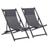 Leżak składany 2-częściowy zestaw składanych krzeseł ogrodowych kempingowych aluminium szare Outsunny(m-1)