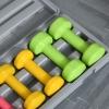 Zestaw hantli z walizką przenośny komplet hantli 6 szt. stal czerwony + żółty + zielony(m-9)