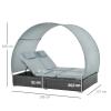 Podwójny leżak z technorattanu dla 2 osób z daszkiem przeciwsłonecznym stal(m-3)