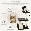 PawHut Cat Tree Tower w/ Scratching Posts Sisal Arc Pad Hanging Ball 40 x 35 x 72cm(m-4)