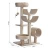 PawHut Cats 6-Tier Scratch Tree w/ Dangle Toy Beige(m-3)