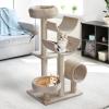 PawHut Cats 6-Tier Scratch Tree w/ Dangle Toy Beige(m-10)