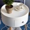 HOMCOM Round Coffee Table,  38 x 45H cm-White(m-4)