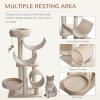 PawHut Cats 6-Tier Scratch Tree w/ Dangle Toy Beige(m-5)