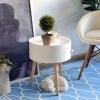 HOMCOM Round Coffee Table,  38 x 45H cm-White(m-6)