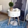 HOMCOM Round Coffee Table,  38 x 45H cm-White(m-12)